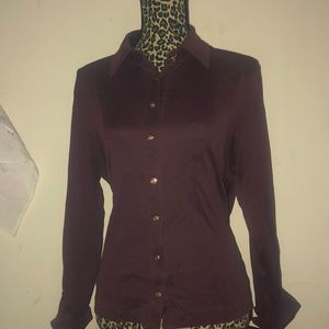 Brooks brothers top burgundy wine gold buttons lar